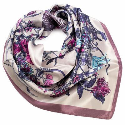 Šátek saténový - béžovo-fialový s potisken - 1