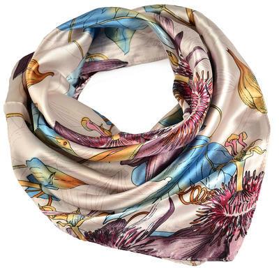 Šátek saténový - bledě fialový se vzorem - 1