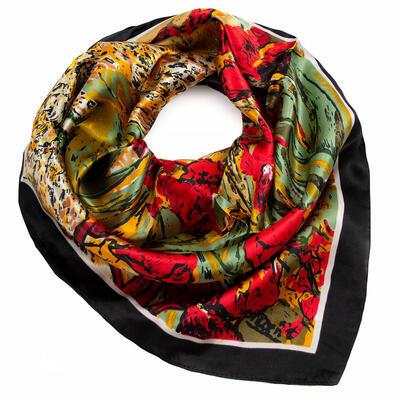Šátek saténový - červeno-zelený s potiskem - 1