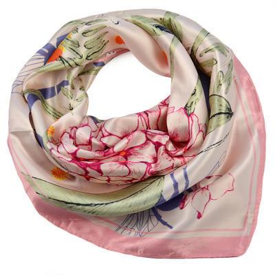 Šátek saténový - růžový s květy - 1