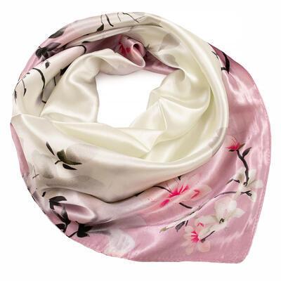 Šátek saténový - růžovo-béžový s potiskem - 1