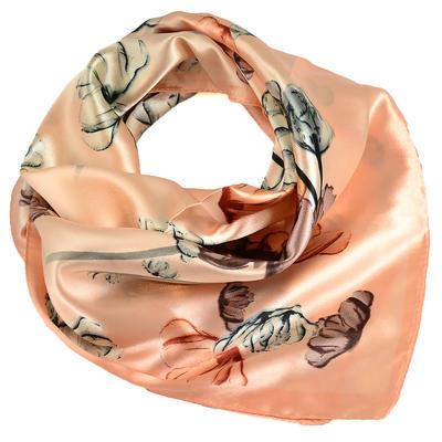 Šátek saténový - meruňkový s květy - 1