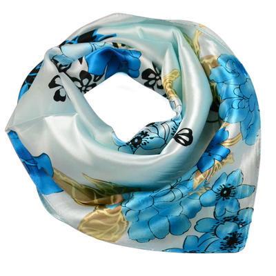 Šátek saténový - modrý s květinovým vzorem - 1