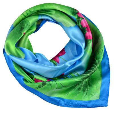 Šátek saténový - modrozelený - 1