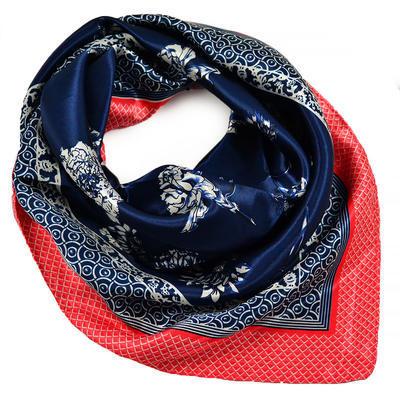 Šátek saténový - modročervený s potiskem - 1