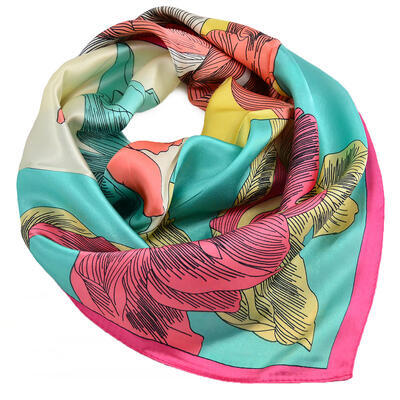 Šátek saténový - zeleno-růžový s potiskem - 1
