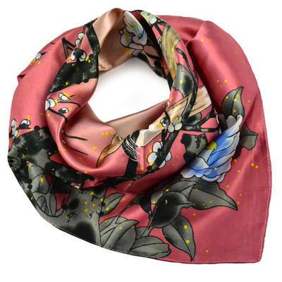 Šátek saténový - růžový s ptáky - 1
