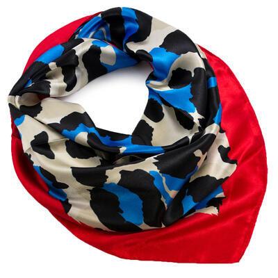 Šátek saténový - červeno-modrý, zvířecí potisk - 1