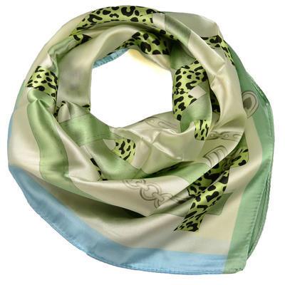 Šátek saténový - zelenobéžový - 1