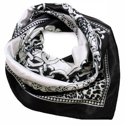 Šátek saténový - černo-bílý, zvířecí potisk - 1