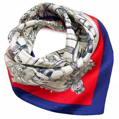 Šátek saténový - bílo-červený s potiskem - 1