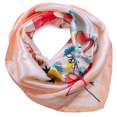 Šátek saténový - bílo-růžový s potiskem - 1