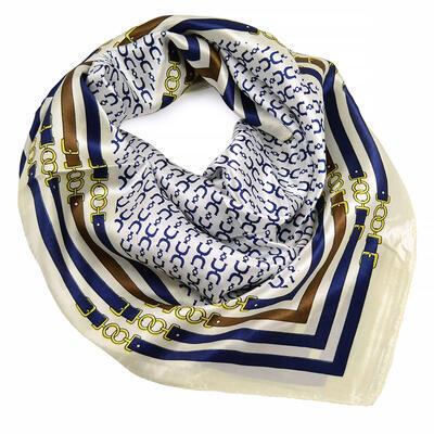 Šátek saténový - bílo-modrý s potiskem - 1