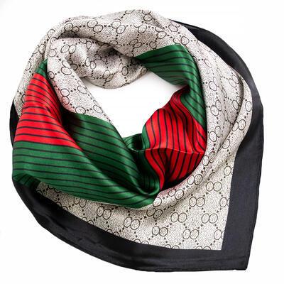 Šátek saténový - bílo-zelený s potiskem - 1