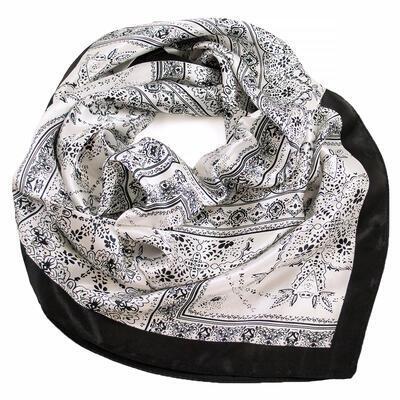 Šátek saténový - černo-bílý s potiskem - 1
