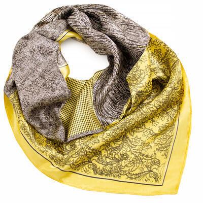 Šátek saténový - žluto-hnědý s potiskem - 1