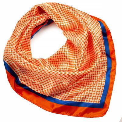 Šátek saténový - oranžovo-bílý s potiskem - 1