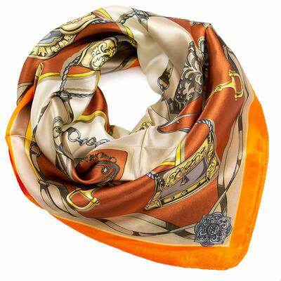 Šátek saténový - oranžovo-béžový s potiskem - 1