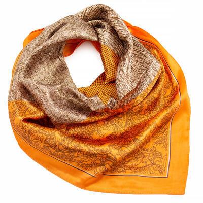 Šátek saténový - oranžovo-hnědý s potiskem - 1