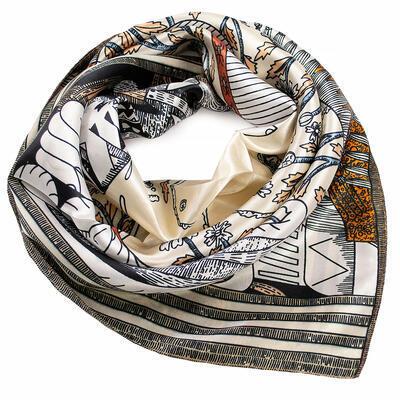 Šátek saténový - béžovo-bílý s potisken - 1