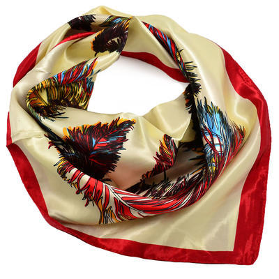 Šátek saténový - béžovočervený s potiskem - 1