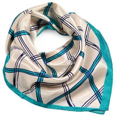 Šátek saténový - béžovozelený s potiskem - 1