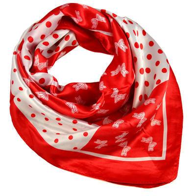 Šátek saténový - červenobílý s potiskem - 1