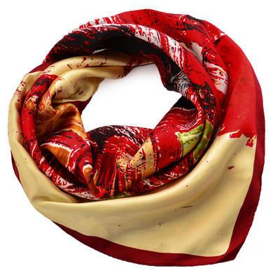 Šátek saténový - červenobéžový - 1