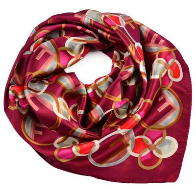 Šátek saténový - červený s potiskem - 1
