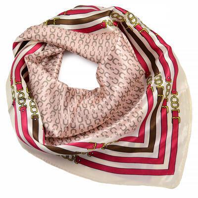 Šátek saténový - růžovo-bílý - 1