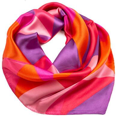 Šátek saténový - růžovo-fialový s potiskem - 1