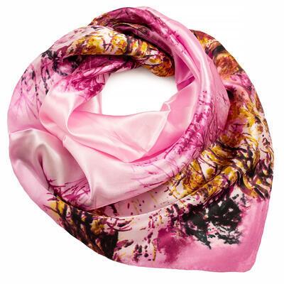 Šátek saténový - růžový s potiskem - 1