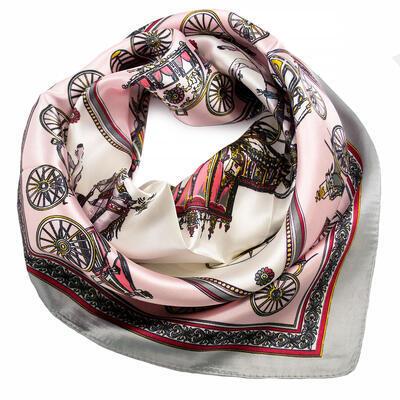 Šátek saténový - růžovo-šedý s potiskem - 1
