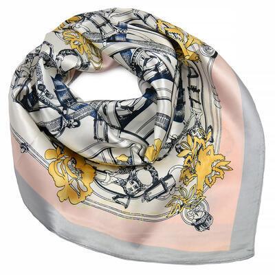 Šátek saténový - růžovo-šedý - 1