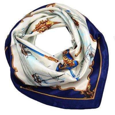 Šátek saténový - modrobílý - 1