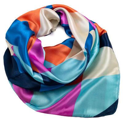 Šátek saténový - barevný s potiskem - 1