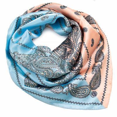 Šátek saténový - modro-meruňkový s potiskem - 1