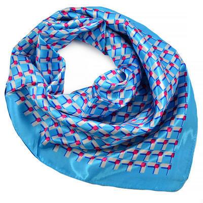 Šátek saténový - modrý s potiskem - 1
