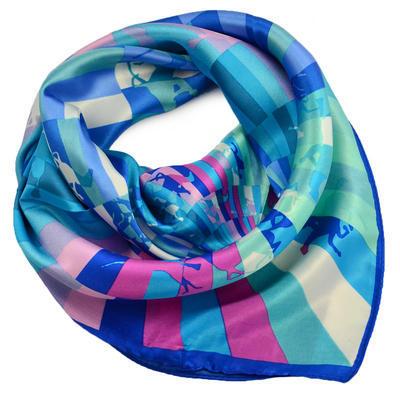 Šátek saténový - modrorůžový - 1