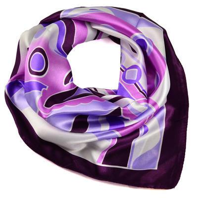 Šátek saténový - fialový s potiskem - 1