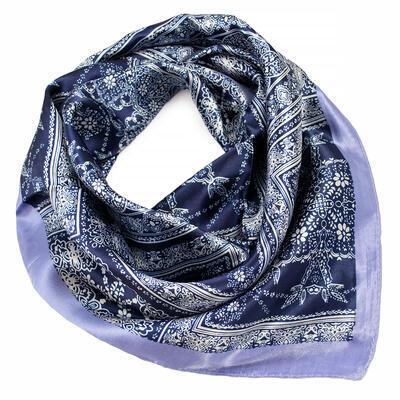 Šátek saténový - modro-bílý s potiskem - 1