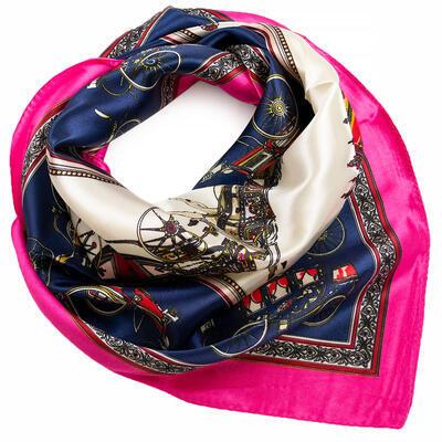 Šátek saténový - modro-růžový s potiskem - 1