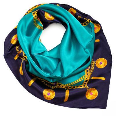 Šátek saténový - modro-tyrkysový s potiskem - 1