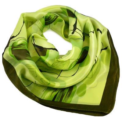 Šátek saténový - zelený s potiskem - 1