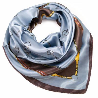 Šátek saténový - modro-hnědý s potiskem - 1