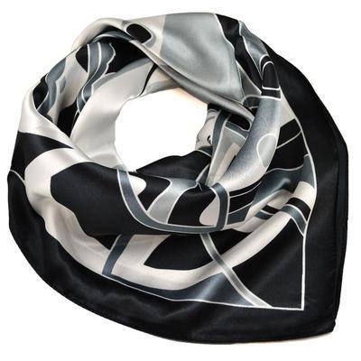 Šátek saténový - černobílý s potiskem - 1