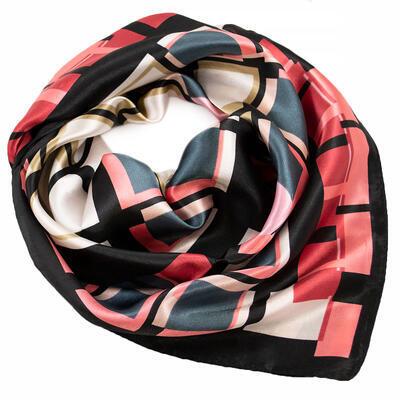 Šátek saténový - černo-růžový s potiskem - 1