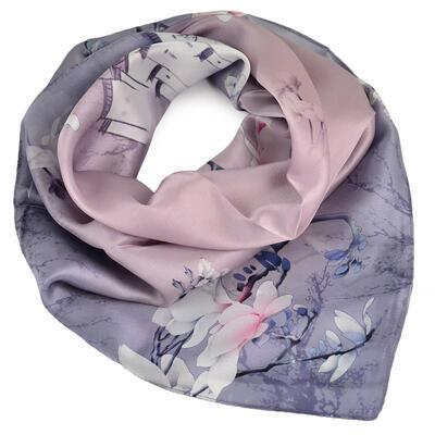 Šátek hebký - šedý s květy - 1