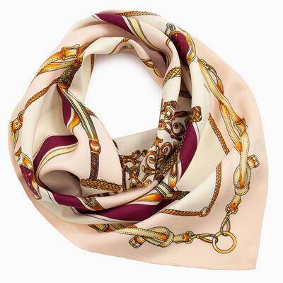 Šátek saténový - růžovo-bílý s potiskem - 1