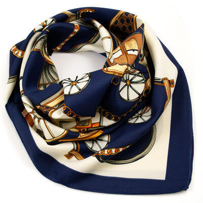 Šátek saténový - modro-béžový s potiskem - 1
